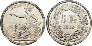 Picture 1 of a sold 5 Francs (Helvetia seated)